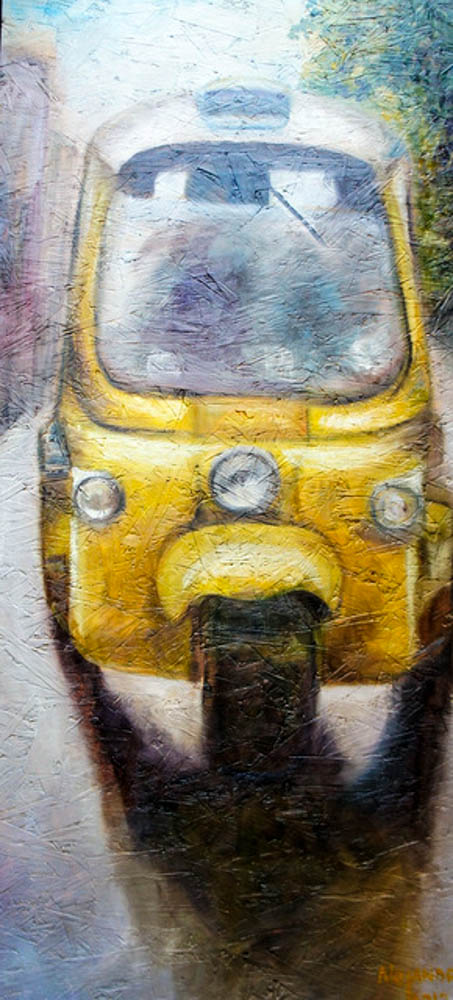 Yellow Tuctuc in Bangkok